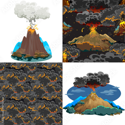 Fotobehang Indiërs A set of volcanoes of varying degrees of eruption, a sleeping or awakening dangerous vulcan, salute from magma ashes and smoke fly out from volcano, lava flowing down the mountain vector illustration