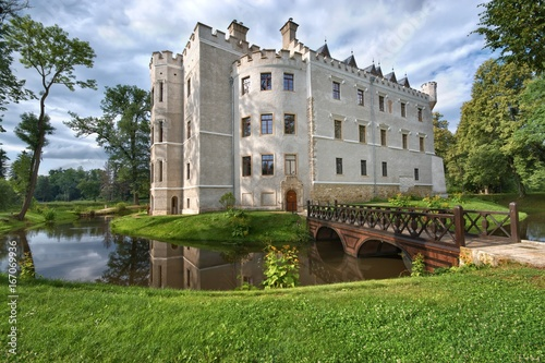 Neo Gothic Style Castle Surrounded By A Moat In Karpniki Poland