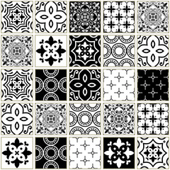 Panel SzklanyVeector navy blue tiles pattern, Azulejos - Portuguese seamless tile design, monochrome ceramics set