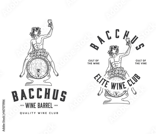 Bacchus Wine Club black on white Wallpaper Mural