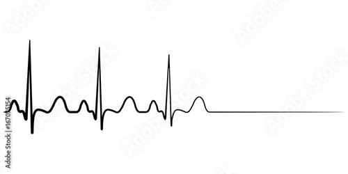 Fotografía  Death icon, cardiac arrest, vector cardio cardiogram, concept of condolence