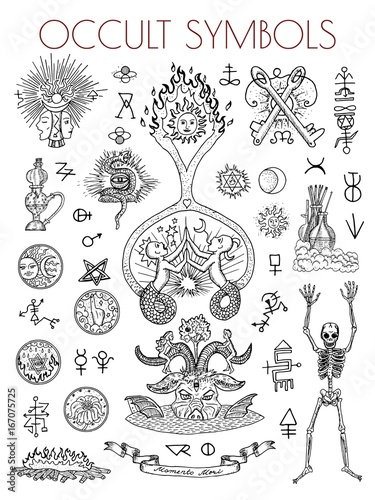 Fényképezés  Graphic set with esoteric symbols and illustrations