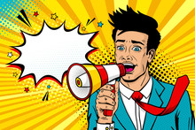 Wow Pop Art Male Face. Young Handsome Man With Open Mouth, Flying Tie, Megaphone Screaming Announcement And Empty Speech Bubble. Vector Background In Comic Retro Pop Art Style. Invitation Poster.