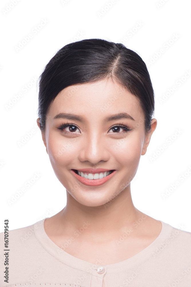 Fototapety, obrazy: Passport photo of asian female, natural look healthy skin