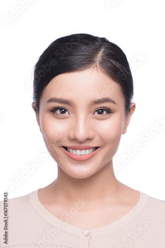 Obraz Passport photo of asian female, natural look healthy skin - fototapety do salonu