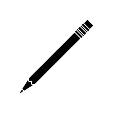 Pencil Icon. Black, Minimalist Icon Isolated On White Background. Pencil Simple Silhouette. Web Site Page And Mobile App Design Vector Element.