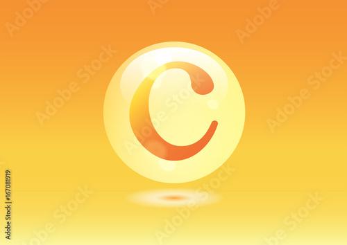 Vitamin C Icon. Ascorbic acid pill capsule Canvas Print