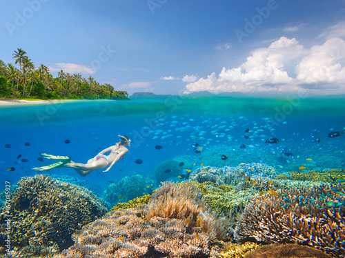 Snorkeler swims over a beautiful coral reef next to picturesque tropical beach near the island of Sulawesi, Indonesia a view under the water and above it.