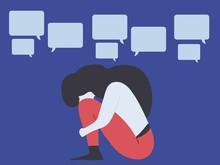 Conceptual Illustration For Bullying, Gossip, Aspersion, Defamation, Slander, Libel, Slur, Detraction, On Female Girl And Teenager