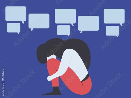 Conceptual illustration for bullying, gossip, aspersion, defamation, slander, li Wallpaper Mural
