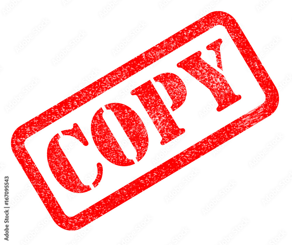 Photo copy red rubber stamp on white background. copy sign.