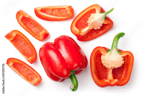 Canvastavla Red Peppers Isolated on White Background