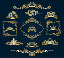 Victorian Style Golden Decor Elements. Filigree Vector Royal Motif Gold Design Calligraphic Ornament Items Isolated On Blue Background