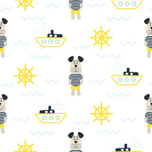 Pajamas Boy Pattern With Tilda Sailor Dog Seamless Vector. Cute Child Style Textile Fabric Cartoon Marine Blue And Yellow Background For Bed Linen, Clothes And Kid Stuff.