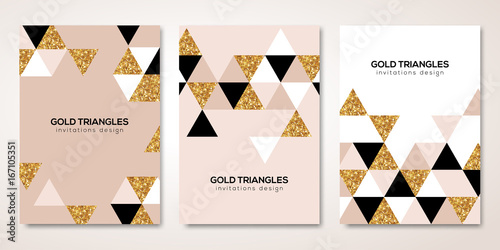 Fotografía  Banners set with gold triangles decor