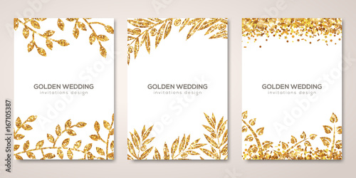 Banners set with gold floral patterns on white