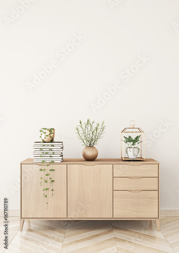 Fotomural  Living room interior with chest of drawers and plants on beige wall background