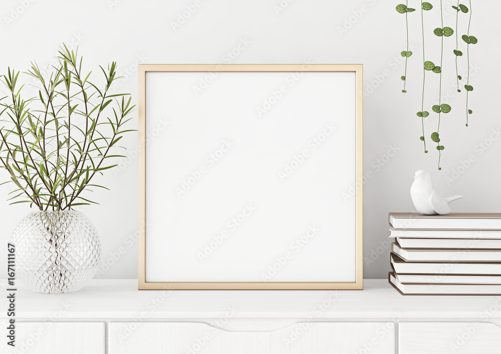 Fototapety, obrazy: Interior poster mock up with square metal frame and plants in vase on white wall background. 3D rendering.