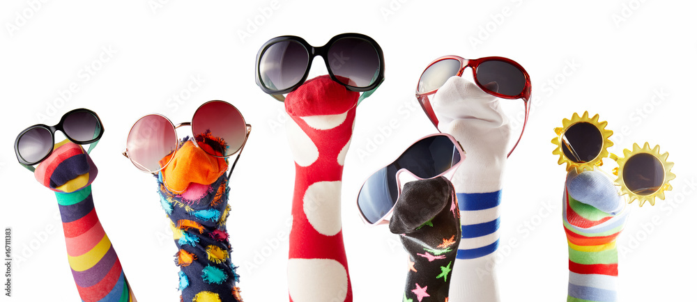 Fototapety, obrazy: Sock puppets with glasses against white background