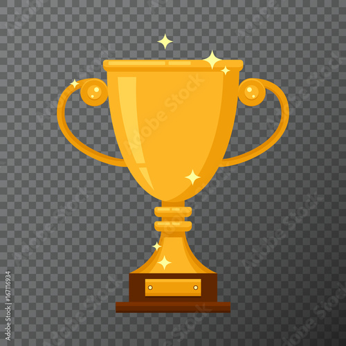Vector golden cup icon isolated on background. Shiny prize with simple shape and flat design. Realistic glossy trophy used for a logo, website, certificate or diploma creations. Wall mural