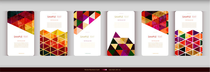 Abstract geometric business card Set.