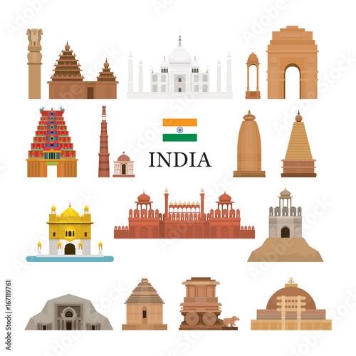 Obraz na plátně  India Architecture Objects Icons Set