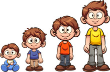 Cartoon Boy Growing Up. Vector...