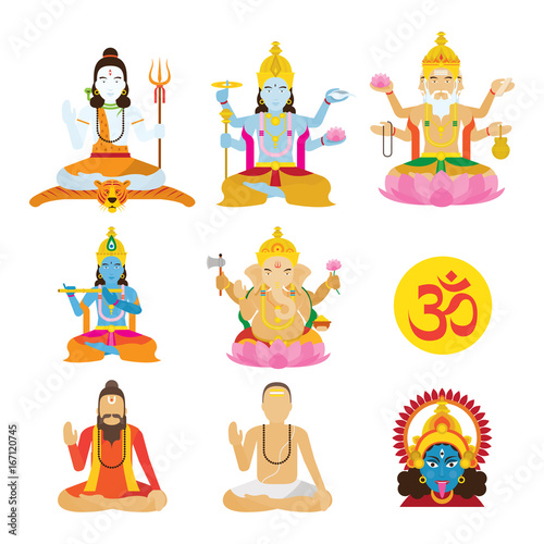 God of Hinduism and Priest Set