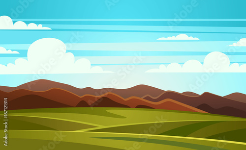 Tuinposter Turkoois Summer Landscape Mountain Vector Illustration