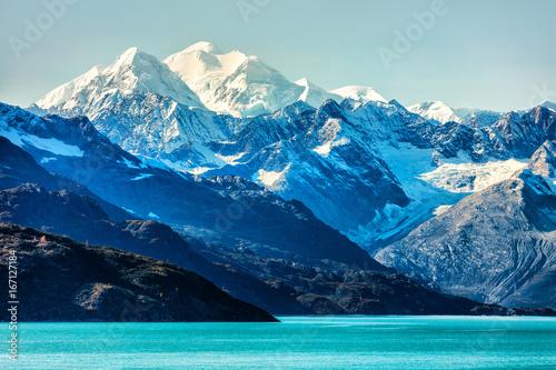 Poster Glaciers Alaska Mountains landscape in Glacier Bay Alaska, United States, USA. Vacation cruise travel destination.