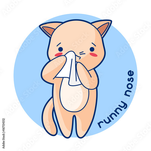 Fotografia, Obraz  Runny nose sick cute kitten. Illustration of kawaii cat