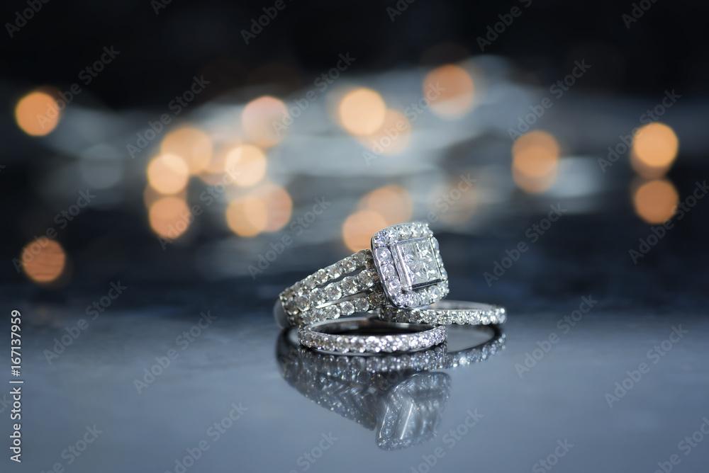 Fototapety, obrazy: Wedding Band and Engagement Ring