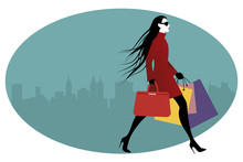 Fashionable Woman With Shoppin...