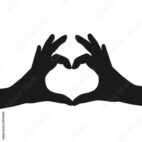 hands making or formatting a heart symbol silhouette vector stock