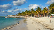 Isla Mujeres Beach Mexico / Peaceful North Beach with palm trees