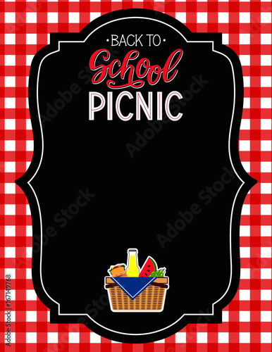 back to school picnic announcement template chalkboard background