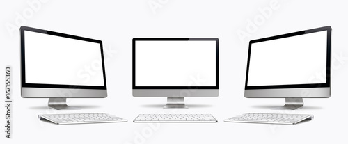 Obraz na plátně  Desktop computer screen with keyboard vector isolated, monitor, realistic,3D, isolated - stock vector