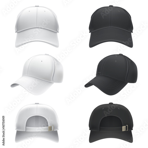 Fotografia  Vector realistic illustration of a white and black textile baseball cap front, back and side view, isolated on white