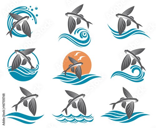 collection of flying fish images with waves Canvas Print