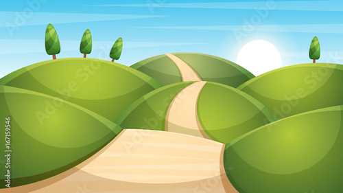 In de dag Pistache Cartoon landscape illustration. Sun. cloud, mountain hill Vector eps 10
