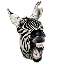 Zebra Head Contorts Face With ...