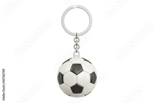 Photo Keychain with a soccer ball, 3D rendering