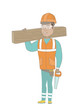 Hispanic carpenter holding saw and wooden board. Full length of young carpenter with hand saw and wooden board. Vector sketch cartoon illustration isolated on white background.