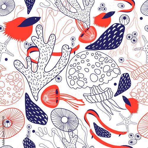 Cotton fabric Seamless beautiful sea pattern