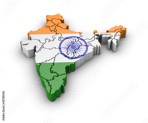 Photo  Map of India with flag and shadow on white background