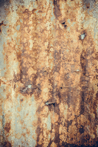 Fototapety, obrazy: Old rusty corrugated tin zinc metal wall in vintage tone