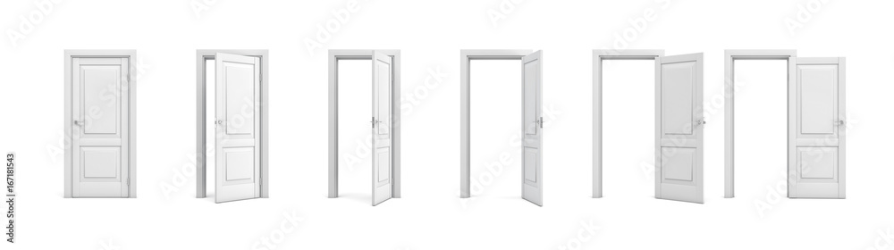 Fototapety, obrazy: 3d rendering set of white wooden doors in different stages of opening.
