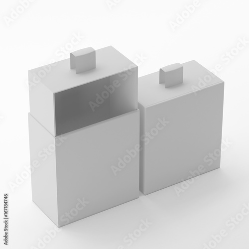 elegant sliding box mock up template on isolated white background