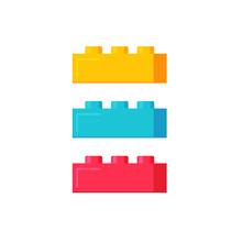 Blocks Construction Toys Vector Illustration, Flat Cartoon Plastic Color Building Blocks Or Bricks Toy Isolated On White Background
