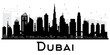 Dubai UAE City skyline black and white silhouette.